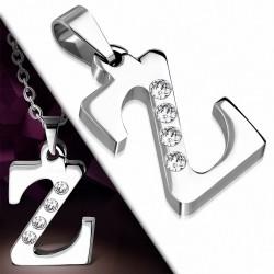 Pendentif avec alphabet Z en acier inoxydable gemme