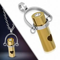Pendentif cylindre doré avec coeur en acier inoxydable et strass