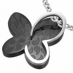 Pendentif à caution invisible avec pendentif papillon en forme de papillon en acier inoxydable