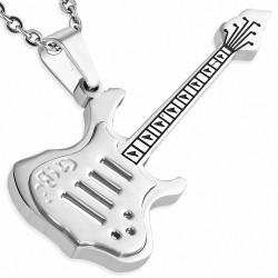 Pendentif  guitare électrique en acier inoxydable argenté 2