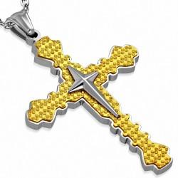 Pendentif croix double médiévale sablée en étoile en acier inoxydable brillant à deux tons