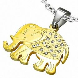 Pendentif éléphant en pavé deux tons en acier inoxydable gemme