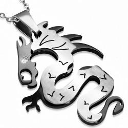 Pendentif signe du zodiaque chinois avec dragon et spirale 2 tons en acier inoxydable avec PZ33