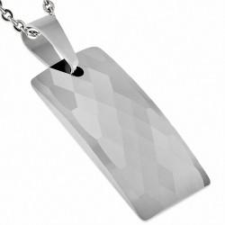 Pendentif rectangulaire bombé taillé façon diament en carbure de tungstène taillé