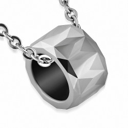 Pendentif à glissière en carbure de tungstène taillé façon diamant