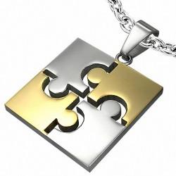 Pendentif carré en acier inoxydable avec deux pièces de puzzle