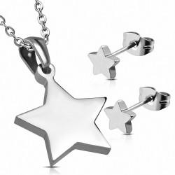 Pendentif étoile brillante en acier inoxydable et paire de dormeuses (SET)