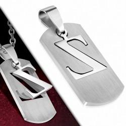 Pendentif en forme d'étiquette alphabet Z en acier inoxydable