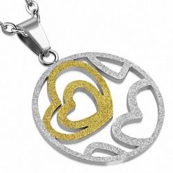 Pendentif cercle à coeur ouvert en forme de coeur en acier inoxydable sablé à 2 tons