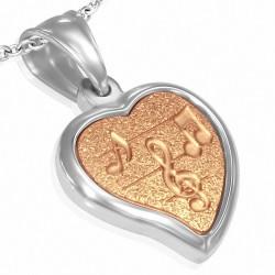 Pendentif coeur avec notes de musique en acier inoxydable argenté/rosé