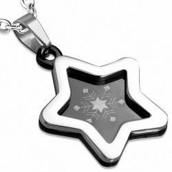 Pendentif acier inoxydable étoile bord argenté et fond noir