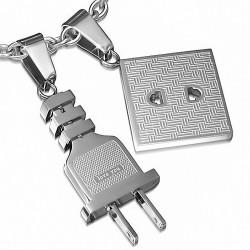 Pendentif à breloques 2 pièces en acier inoxydable avec fiche d'alimentation et prise de courant