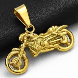 Pendentif charm moto en acier inoxydable doré A