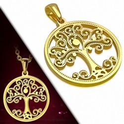 Pendentif en forme de coeur de cercle de l'arbre de Bodhi en forme de spirale en acier inoxydable plaqué o
