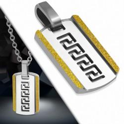 Pendentif type plaque militaire en acier inoxydable avec clé grecque découpée et bord sablé doré