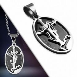 Pendentif croix ovale en acier inoxydable avec signe du zodiaque Sagittaire