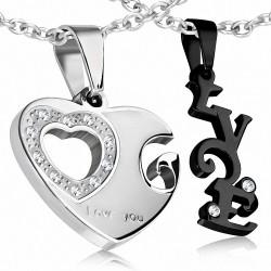 Couple de puzzle coeur ouvert avec monogramme d'amour en 2 parties en acier inoxydable