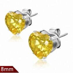 Paire boucles d'oreilles avec broche en acier inoxydable de 8mm sertie de pierres de naissance de novembre en forme de cœur