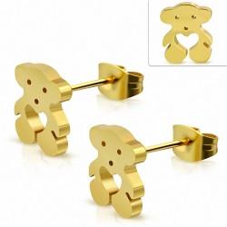 Boucles d'oreilles dormeuses en forme de coeur en forme de coeur en acier inoxydable doré