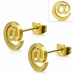 Acier inoxydable plaqué couleur doré à symbole signe boucles d'oreilles (paire)