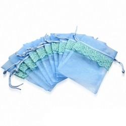 11x16cm | Pochon cadeau pour bijoux en organza bleu motif vigne dentelle (unité)