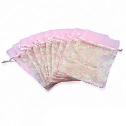12x22cm | Pochette cadeau pour bijoux en organza rose motif cœur (unité)