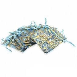 7x9cm | Pochon cadeau pour bijoux en organza bleu et doré motif fleur de vigne rose (unité)