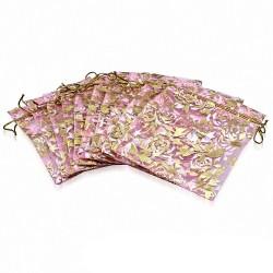 10x12cm | Sachet cadeau pour bijoux en organza rose motif fleur de vigne doré (unité)