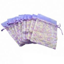 12x22cm | Pochette cadeau pour bijou en organza violet motif cœur amour (unité)