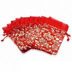 12x22cm | Pochon cadeau pour bijoux en organza rouge et doré motif rose fleur de vigne (unité)