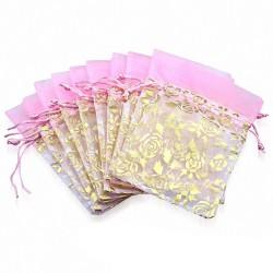 12x22cm | Sachet cadeau pour bijou en organza rose et doré fleur de vigne rose (unité)
