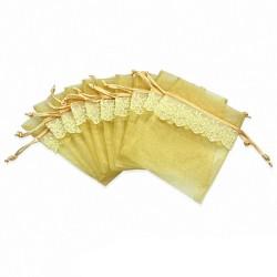 11x16cm | Pochon cadeau pour bijou en organza jaune clair motif vigne dentelle (unité)
