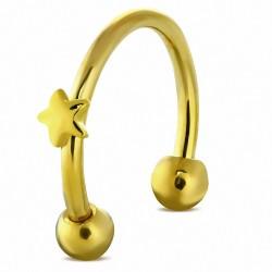 Piercing  fer à cheval étoile en acier inoxydable anodisé doré | Boule 3mm | G-1