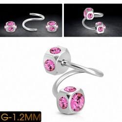 Piercing spirale en acier inoxydable avec Rose CZ rose | Cube 5mm | G-1