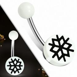 Piercing nombril en acier inoxydable avec charnière et nombril avec cercle en acrylique blanc à 3 tons | Boule-6mm | G-1