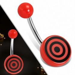 Piercing nombril  en acier inoxydable avec cercle rond en acrylique 3 tons Bullseye | Boule-6mm | G-1