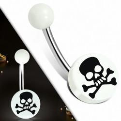 Piercing nombril  en acier inoxydable  acrylique blanc 3 tons Crâne Cercle rond   Boule-6mm   G-1