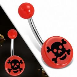 Piercing nombril  en acier inoxydable acrylique rouge 3 tons Crâne Cercle rond | Boule-6mm | G-1