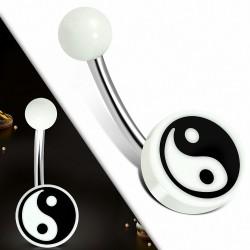 Piercing nombril en acier inoxydable et acrylique blanc 3 tons Yin-Yang / symbole Tao / Cercle Bagua | Boule-6mm | G-1