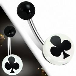 Piercing nombril  en acier inoxydable avec carte de club à 3 tons en acrylique blanc Cercle rond | Boule-6mm | G-1