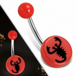 Piercing nombril acier inoxydable  et acrylique rouge 3 couleurs Scorpion signe du zodiaque cercle rond | Boule-6mm | G-1