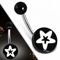 Piercing nombril  en acier inoxydable  avec cercle étoilé en acrylique noir 3 tons | Boule-6mm | G-1