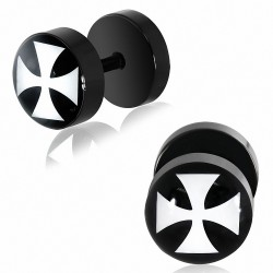 8mm | Piercing oreille  acier inoxydable anodisé noir 2 tons Pattee Cross | G-1