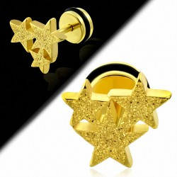 Plaqué or couleur acier inoxydable sablé trois étoiles faux faux Piercing oreille avec joint torique   G-1