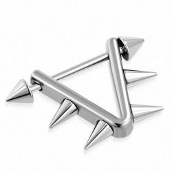 Piercing téton d'étrier triangulaire en acier inoxydable | Pointes coniques 4 mm | G-1