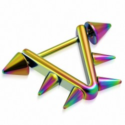 Piercing téton d'étrier triangle en acier inoxydable anodisé arc-en-ciel | Pointes coniques 5 mm | G-1