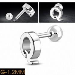 Piercing oreille en acier inoxydable Alphabet initiale / lettre Q Tragus / Cartilage Barbell | Boule 4mm | G-1