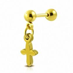 Piercing oreille En acier inoxydable anodisé or médiéval croix charme  Tragus / Cartilage Barbell | Boule 4mm | G-1