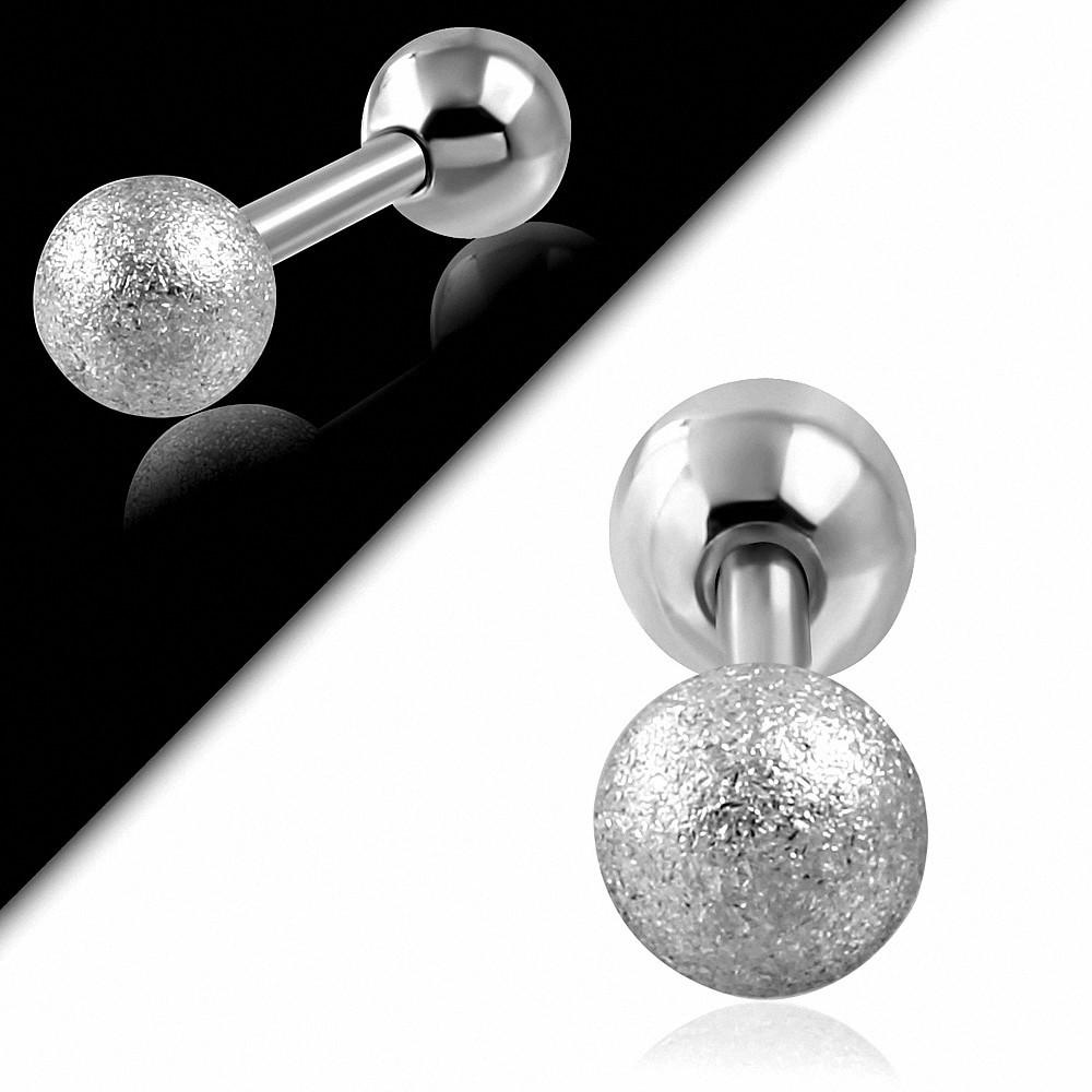 Piercing oreille en acier inoxydable sablé Tragus / Cartilage Barbell | Boule 5mm | G-1