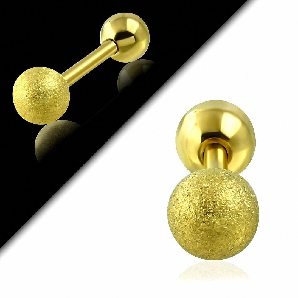 Plaqué or couleur acier inoxydable sablé Tragus / Cartilage Barbell  Piercing oreille | Boule 5mm | G-1